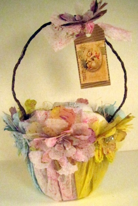 Tattered Floral Easter Basket